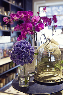 Orchids and hydrangeas from Wild at Heart