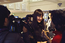 Our editor Inès Carratié interviewed by some TV journalist